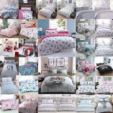 Duvet Reversible Quilt Cover with Pillow Case Bedding Set Single Double King