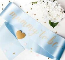 Luxury Mummy to Be Sash With Gold Text - Gift for Baby Shower Mum Blue Its a Boy