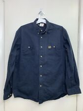 New Wrangler Riggs Workwear Button Up Shirt L Navy Blue Long Sleeve NWOT