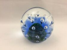 "Decorative Blue Glass Bubble Paper Weight  Air Bubbles/Decorative Rock 4"" Sphere"