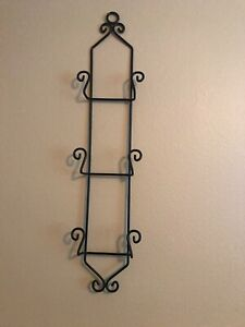 Vintage Wrought Iron Plate Rack.  Wall Mount.  Black.