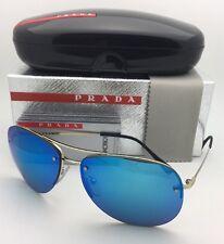 New PRADA Sport Sunglasses SPS 50R ZVN-5M2 62-14 Pale Gold Aviator w/Blue Mirror