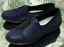 CLARKS CLOUD STEPPERS NAVY BLUE LOAFERS SLIP ONS COMFORT SHOES US WOMENS SZ 9 M