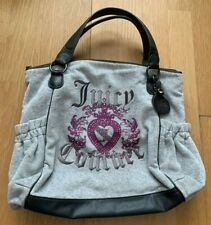 Juicy Couture Grey and Black Shoulder Bag with Purple Logo