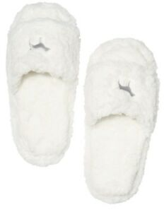 VICTORIA'S SECRET PINK WHITE FUZZY COZY SHERPA FLEECE SLIPPERS NON SKID LARGE