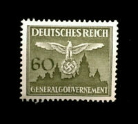 Authentic Germany WWII Mint MNH 60 Pf GENRALGOUVERNEMENT Stamp WWII Era
