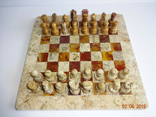 """Marble Chess Set Stone Brown Tan Pieces Game Board No Case 12"""" x 12"""" New NOS #4"""