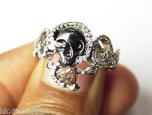 0.50ct Natural Raw Red diamond ring Uncut rough diamond Skull ring 925 silver 09