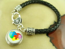 AUTISM HEART I snap button charm on Black braided leather silver  bracelet