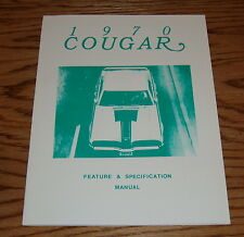 1970 Mercury Cougar Feature & Specification Manual Brochure 70