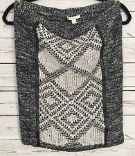 Ella Moss Black White Skirt Geometric Crochet Sweater Material Size Medium