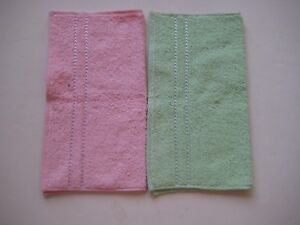 Soft Line Classic Wash Towels 100% Cotton Pink and Green Set of 2