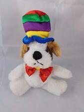 """Dan Dee Dog Plush w/ Clown Hat & Bow tie 8"""" Tall Stuffed Animal"""