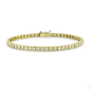 9ct yellow gold princess cut 2mm tennis bracelet free postage gift boxed