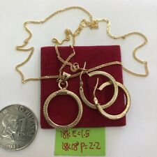 GoldNMore: 18K Gold Jewelry Set Necklace With Pendant And Earrings TPSG