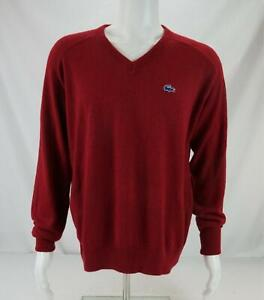 VTG Izod Lacoste V-Neck Sweater Burgundy Red Men's XL