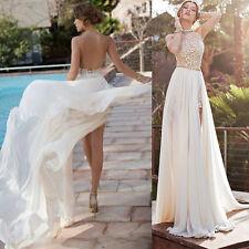2018 Halter Applique Beach Wedding Dress Backless Bridal Gowns Custom Size4~16++