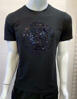 New Mens Laverita Short Sleeve Very Slim Fit T-Shirt Black Shiny Black Medusa