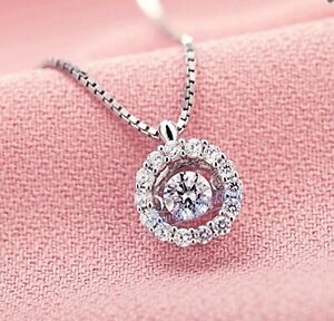 1 Ct Dancing Round Diamond Circle Pendant Necklace in 14K White Gold Over