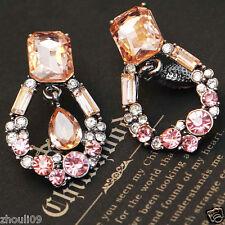 "Ear Studs earrings hot 1 1/2"" e280 Design Lady Hot Statement clear crystal long"