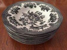 LOT JOHNSON BROTHERS ASIATIC PHEASANT 8 WIDE RIM SOUP BOWLS BLACK AND WHITE