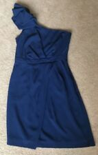 Warehouse Spotlight Navy Blue One Shoulder Cross Front Mini Dress Fitted Uk 10