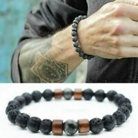 Lava Rock Diffuser Bracelet Natural Lava Stone Yoga Beads Bracelet 3 Energy TOP