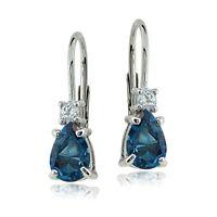 Sterling Silver 1.1ct London Blue & White Topaz Teardrop Leverback Earrings