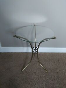 Vintage Mid Century Brass End Table Glass Table Top Hotel Recency Like