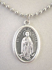 """St Martin de Porres w/ Dog and Cat Medal Italy Necklace 24"""" Ball Chain"""