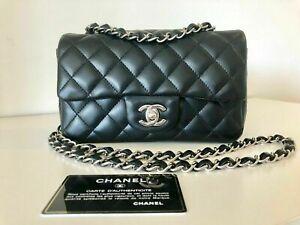 ❅❆100% Auth. Chanel 2019 Black Mini Rectangular Lambskin Bag Flap Silver HW❅❆