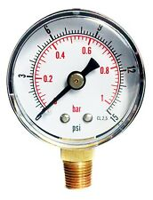 Pressure Gauge 0/15 PSI & 0/1 Bar 40mm Dial 1/8 BSPT Bottom connection.