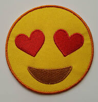Heart Eyes Emoji Smiley face emoji Brand New Iron on Sew on embroided patch