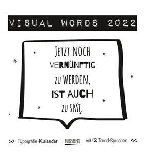 Visual Words Black 2022, Postkartenkalender, 16 x 17 cm, 235122