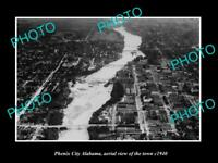 OLD POSTCARD SIZE PHOTO PHENIX CITY ALABAMA, AERIAL VIEW OF THE TOWN c1940