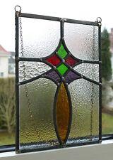 Wunderschönes antikes Jugendstil Fensterbild bleiverglast ca. 30,8 cm x 23,2 cm