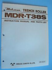 Mikasa Trench Roller Mdr T38s Instruction Manual And Parts List 508 00201