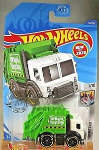 2020 Hot Wheels #55 HW Metro 1/10 TOTAL DISPOSAL White/Green w/Black St8 Spokes