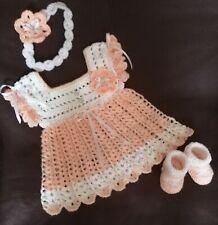 Baby Dress set / outfit / bundle. Socks Shoes, Headband. Hand made  🍼 👶