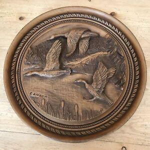 Vintage 1970's Hand Carved Wood Folk Art Canada Geese Karl Rothammer Rustic Tiki