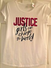 NWT Girls Justice White Short Sleeve Top Size 18 - JUSTICE Girls Can Change the