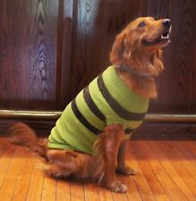 Winter Weight Sweater in Green with Chocolate Stripes - for Dogs size  2XL
