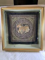 Vintage India Hand Beaded Sequins Horse Wall Tapestry Beads Black Framed ART B2