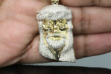 1.62 CT 2 INCH MENS YELLOW GOLD FINISH DIAMOND JESUS HEAD CROSS PENDANT CHARM