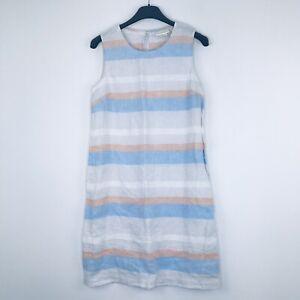 Cynthia Rowley Women's 2 Dress Sleeveless Stripes Keyhole 100% Linen Summer X36