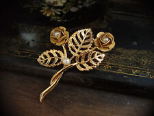 Vintage Brooch with Matt Gold Rose with Pearls. Very Dolce & Gabbana