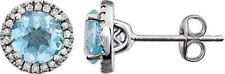 Diamante & Topacio Azul Cielo PIEDRA DE NACIMIENTO Pendientes en 14k ORO BLANCO