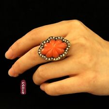 Ring Jade Imitation Orange Retro Crystal Original Evening Marriage Gift Z2