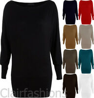New Plus Size Womens Long Sleeve Batwing Ladies Stretch T-Shirt Tunic Top 16-20