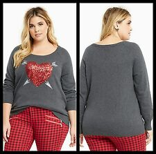 NWT Torrid Plus Size 5X Embellished Sequin Heart Sweater (MM4)